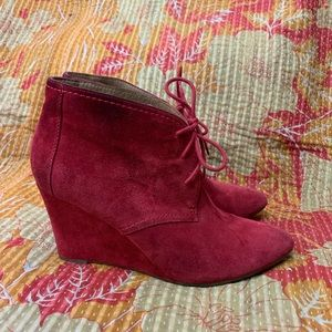 Zara Red Suede Wedge Lace Up Booties Sz 41
